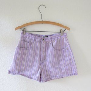 Vintage 90s Striped Purple Denim Jean Shorts